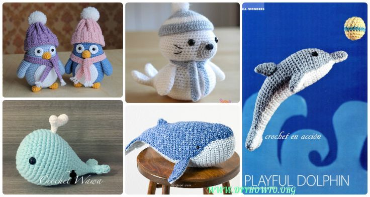 Collection of Amigurumi Crochet Sea Creature Animal Toy Free Patterns: Crochet Sea world Animals, Under the sea softie toys, Whales, Seal, Sea Lion...