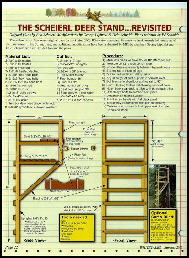 Wood Deer Stand Plans Free | ... Deer Stand obtained from the Minnesota Deer Hunters Association