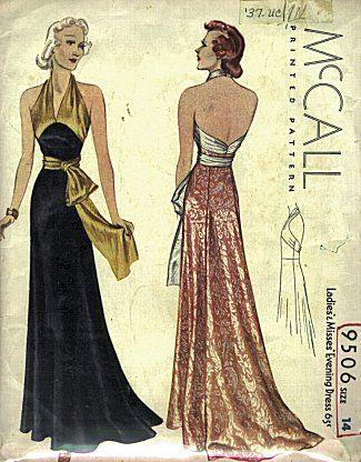 McCall 9506 | ca. 1937 Ladies' & Misses' Evening Dress