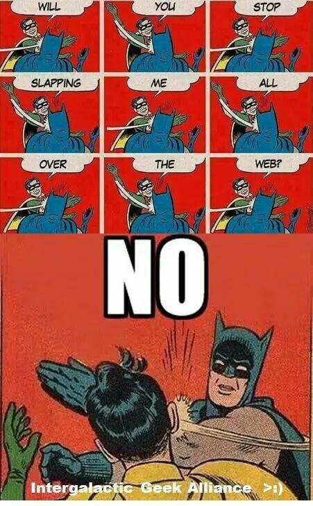 Robin vs. Batman in a slap fight!