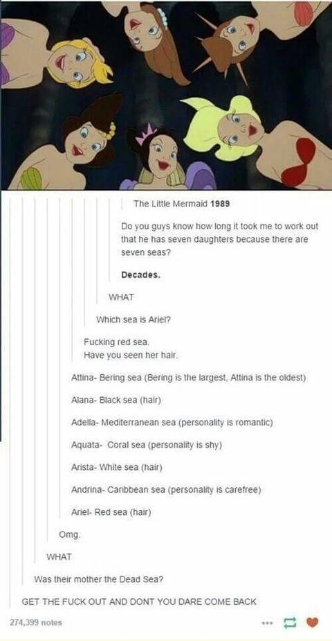 The Little Mermaid: Poseidon's daughters. Excuse the language
