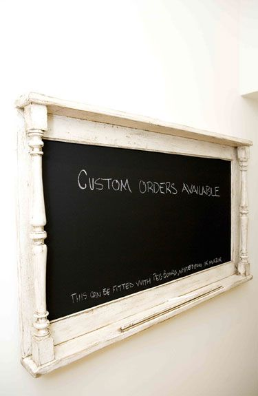 Use old spindles and wood to make a cook chalkboard or pin board etc.
