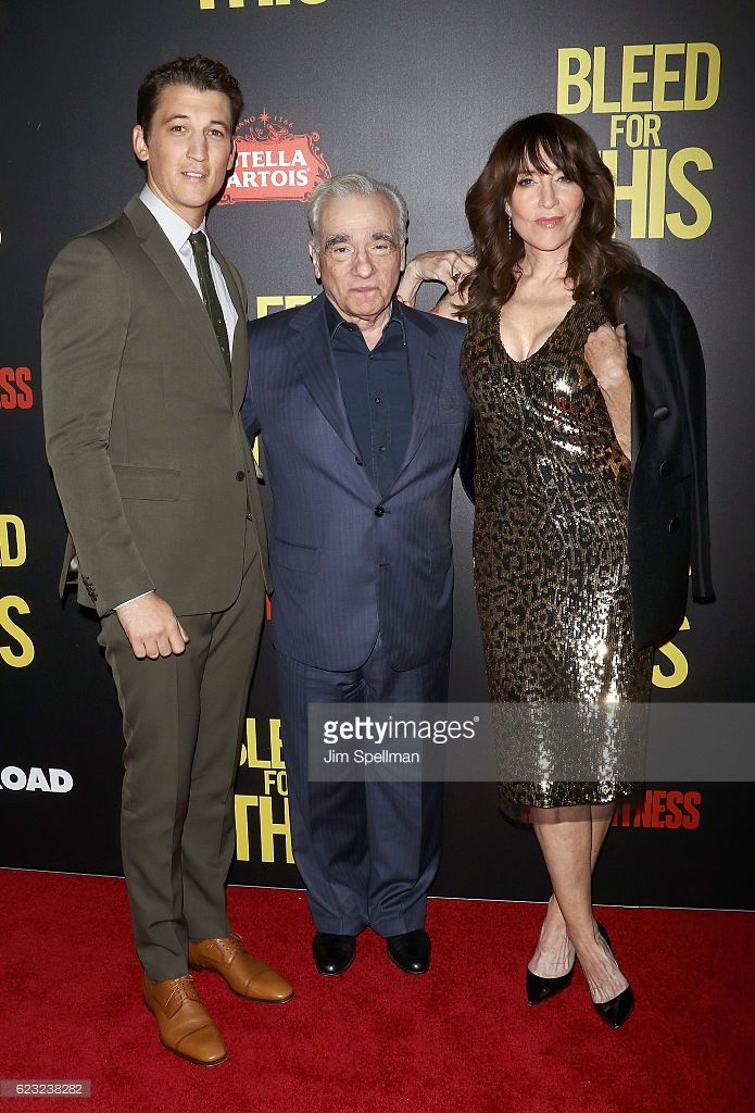 Actor Miles Teller, producer/director Martin Scorsese and actress Katey Sagal attend the premiere of 'Bleed For This' hosted by Open Road with Men's Fitness at AMC Lincoln Square Theater on November 14, 2016 in New York City.