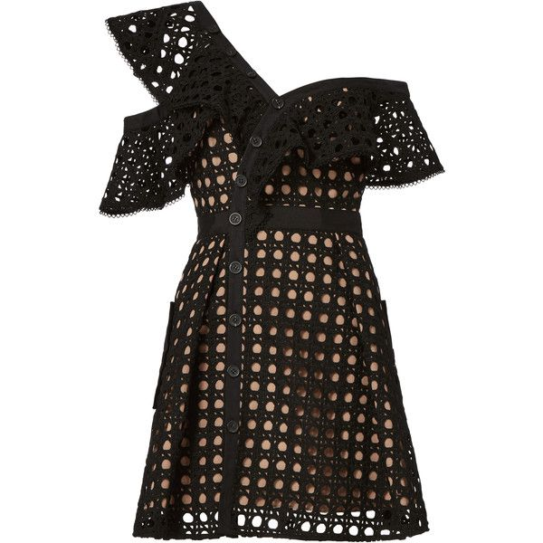 Guipure Black Frill Mini Dress ($510) ❤ liked on Polyvore featuring dresses, black, mini dress, short lace dress, lace-sleeve dress, short sleeve cocktail dresses and flutter sleeve dress