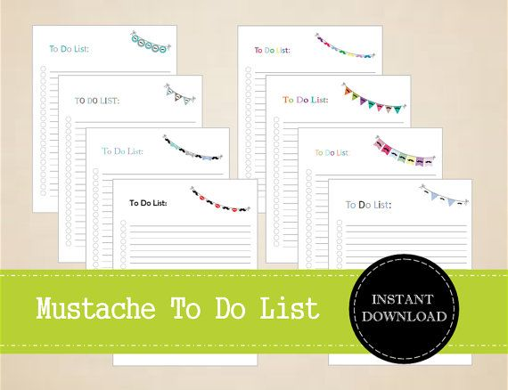 Mustache Themed To Do List  Movember by MBucherConsulting on Etsy