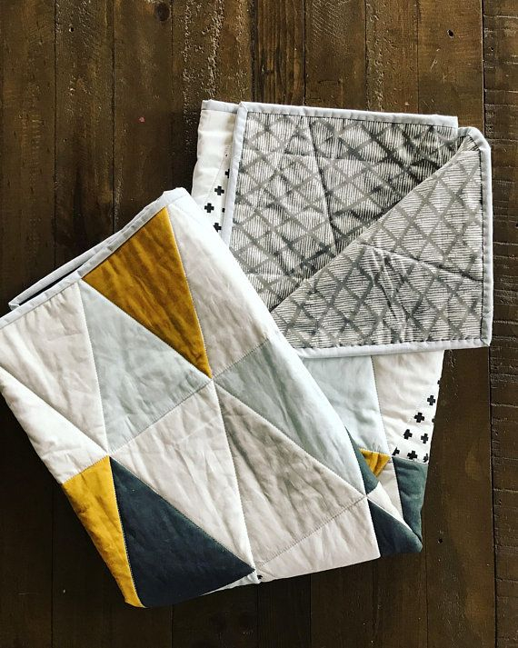 Triangle Baby Blanket Whole Cloth Quilt Olive Green Light Blue Light Gray Charcoal Gray Swiss Cross Triangle Baby Quilt Gender Ne Baby Clothes Quilt Whole Cloth Quilts Neutral Baby Quilt