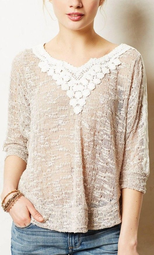 Lace Applique Pullover