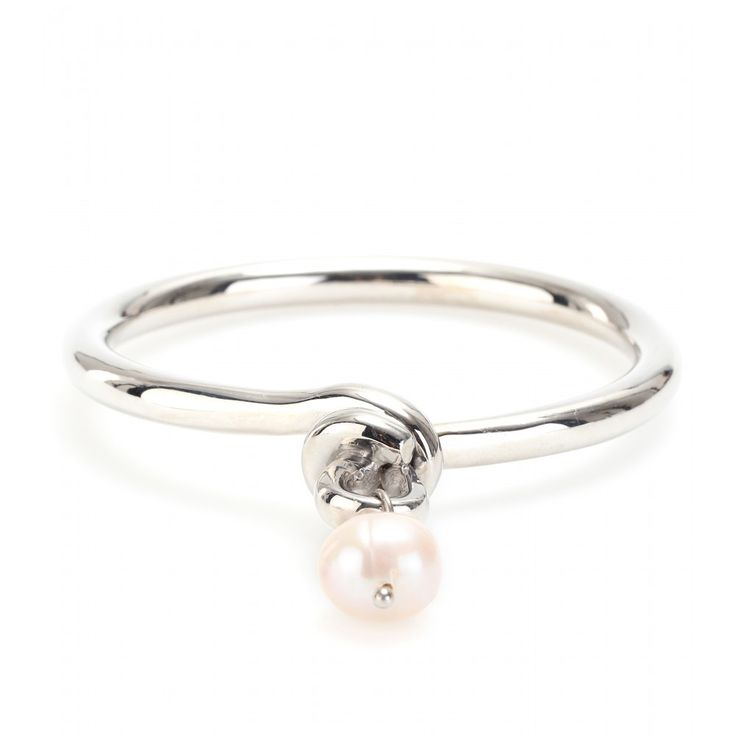 White Gold-Plated 950 Silver Knot Bracelet With Pearl » Makri for The Row ♦ mytheresa.com