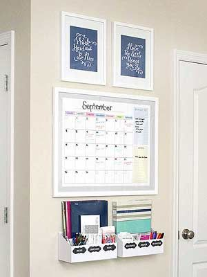 If you put your command center in an open, high-traffic area, be sure to make it look appealing and streamlined. This command center by How to Nest for Less features uplifting framed prints on top, a free printable monthly calendar in a white frame, and two desk organizers secured to the wall with anchors and screws. The calendar is great because the frame allows you to write on top of the glass with dry-erase markers. When you move into the next month, simply wipe off the glass and start…