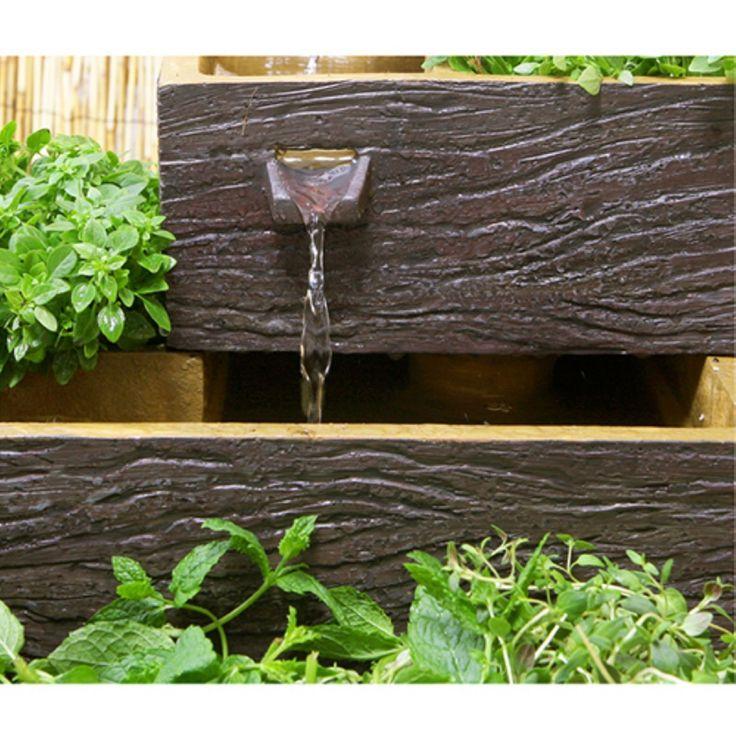 Fontana solare a forma quadrangolare con cascate su quattro livelli -Adibibile a fioriera - Effetto legno scuro: Amazon.it: Giardino e giardinaggio