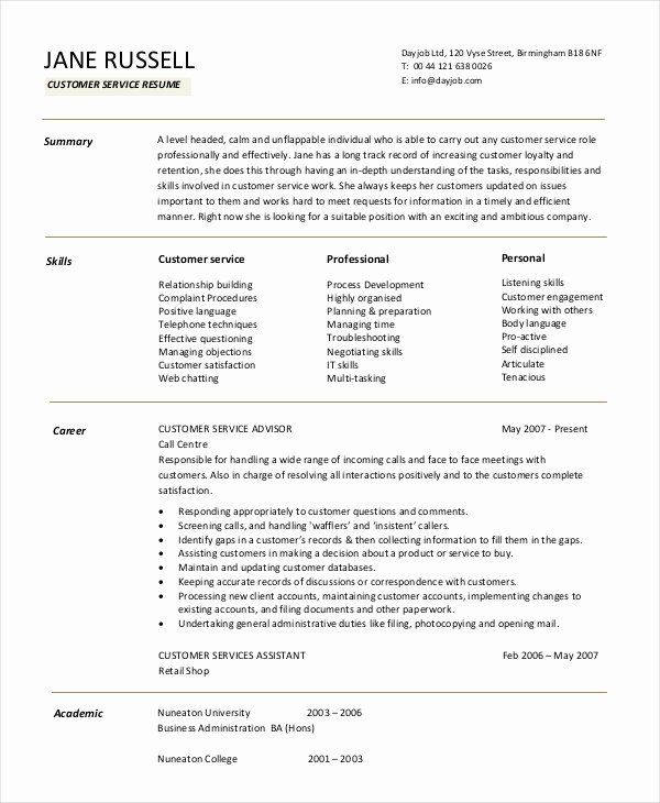Entry Level Customer Service Resume Best Of 11 Customer Service Resume Templates Pdf Doc Customer Service Resume Manager Resume Resume Objective