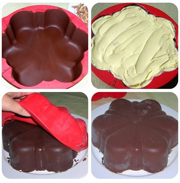 Icecream cake Get cake mould from kmart, put frozen chocolate inside to mould around the Icecream
