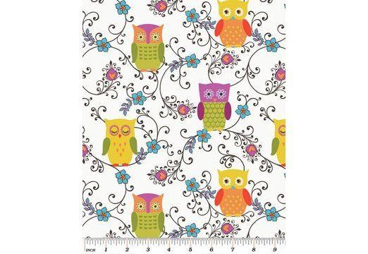 Fabric Fixation - Owllivia - Roost Multi/White