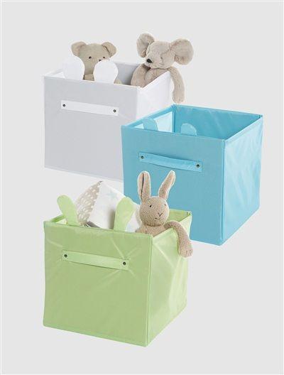 Lote de 3 cajas de almacenaje con asas verde azul blanco - Cajas de plastico ikea ...