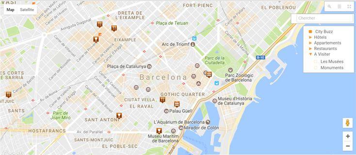 Plan de la ville de Barcelone - carte de Barcelone , quartiers touristiques