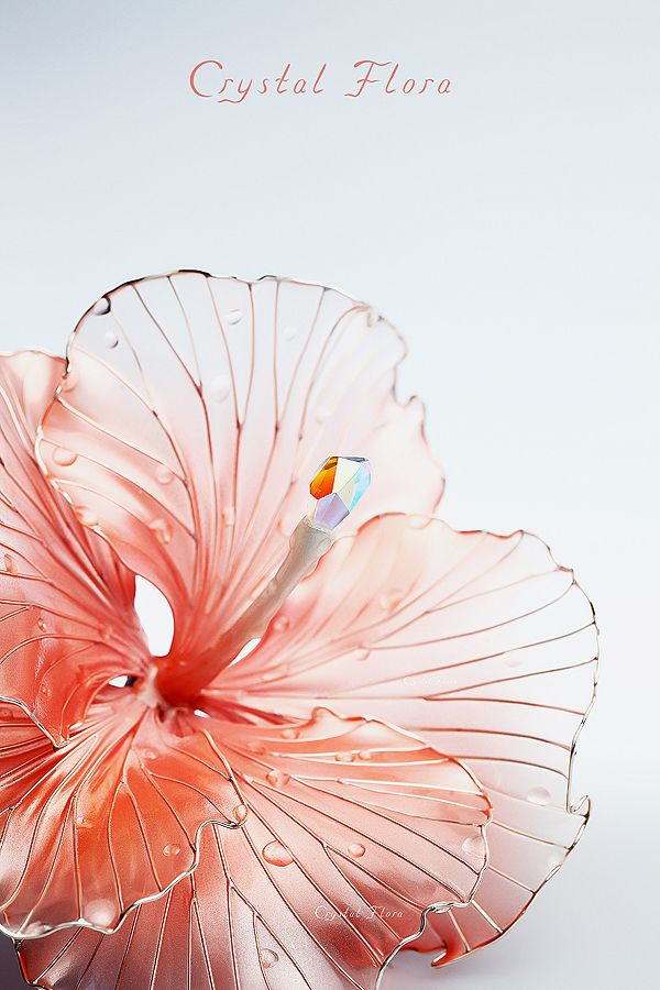 Гибискус нежного персикового цвета / Hibiscus of delicate peach color (Crystal Flora, hair accessory, kanzashi, of synthetic resin and wire, American flowers, it is not kanzashi by Sakae, luxury jewelry, wedding decorations, wedding flowers, transparent flowers)