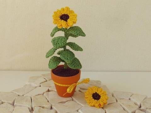 Häkelanleitung Sonnenblume im Topf bei Makerist