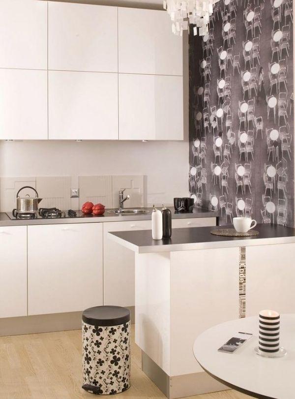 Personalisieren Sie Ihre Küche Mit Dem Muster Und Textur Der Tapete. Die  Kreative Anwendung Der Tapeten In Der Küche Kann Ihren Raum Vollständig  Umwandeln