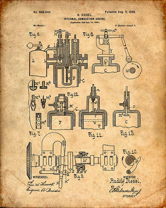 Diesel Engine Patent Print From 1898 - Patent Art Print - Patent Poster - Wall Art - Truck Engine - Engineer - Truck Driver