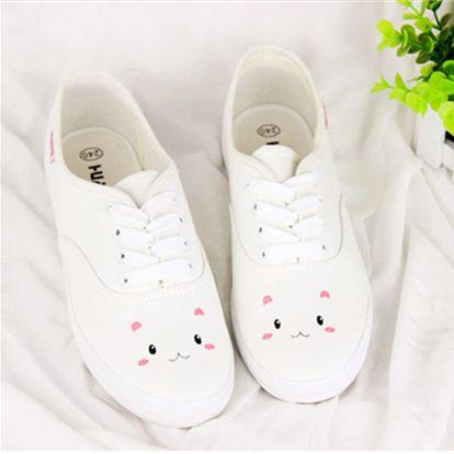 Cute kawaii sweet cartoon fashion lovely bunny white canvas shoes boots