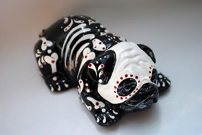Day of the Dead Painted Sugar Skull Dog Statue Pug Bulldog Puppy Figurine Muerto