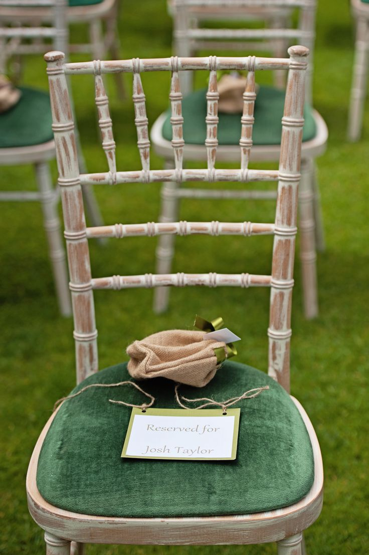 White Wash Chairs; Hessian Confetti Bag; Reserved Sign; Rustic Chic Wedding; Green & White Wedding