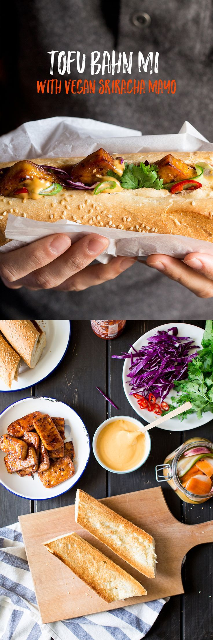 #vegan bahn mi sandwich deep-filled with tasty tofu / fresh veg / herbs and…