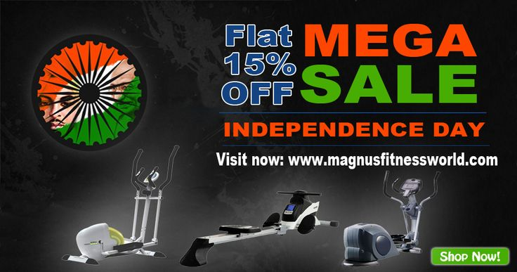 HAPPY INDEPENDENCE DAY 2016 GREAT FREEDOM MEGA SALE @MagnusFitnessWorld on #Exercise #HomeGym #Equipments #MotorisedTreadmill, #EllipticalTrainer, #ExerciseBike, #RecumbentBike, #UprightBike, #GymAccessories, #StrengthEquipment, #MultiGym and more…! Huge Collections, Affordable Deals & Prices, Free Shipping, Cash on Delivery Browse Now: http://goo.gl/qPvV85 FLAT 15% OFF on #FitnessEquipments…! This Independence Day What We Think, We Become!!!
