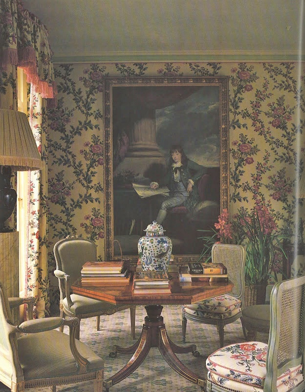 A London drawing room that centers around a delightful portrait of a young Sir Joseph Banks. Colefax and Fowler: The Best in English Interior Decoration by Chester Jones (Bulfinch Press)