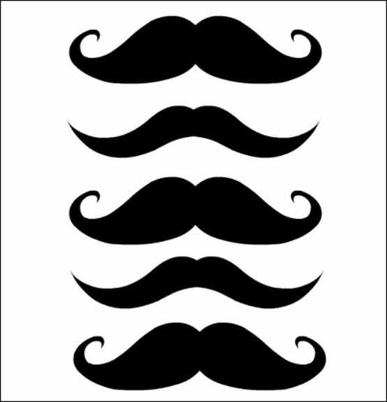 Free moustache printables - print, punch a hole in them and slide onto ...