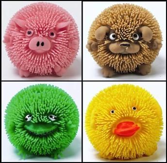 Squishy Spiky Ball : 2 x Squishy Farm Head Critters Light Up Puffer Animals Flashing Spikey Ball Toy eBay
