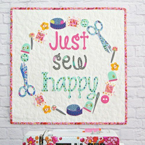 """""""Just Sew happy"""" designed by Jemima Flendt for Tied With A Ribbon."""