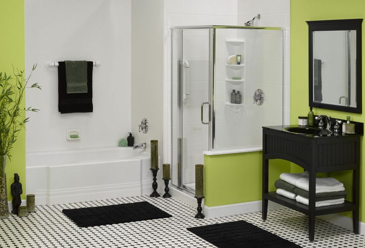 It's always spring in this bathroom! More examples at http://innovatebuildingsolutions.com/products/bathrooms/bathtub-liners-and-enclosures
