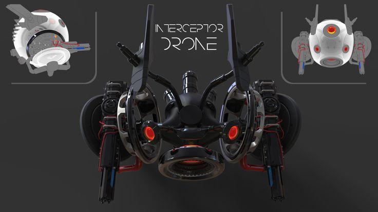 Interceptor Drone - P9000, Laurentiu Nedelca on ArtStation at https://www.artstation.com/artwork/xyVYW