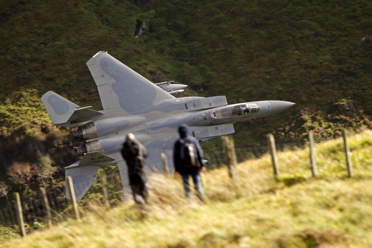 AMAZING F-15 FLYING THROUGH THE CANYONS! - GREAT SHOT FROM THE CLIFF BELOW LOOKING DOWN!