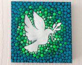 Artículos similares a Blanca Paloma pintura original sobre lienzo, pintura, oficina y ornamento casero, arte del Henna regalo Dotilism Dotart, mandala azul en Etsy