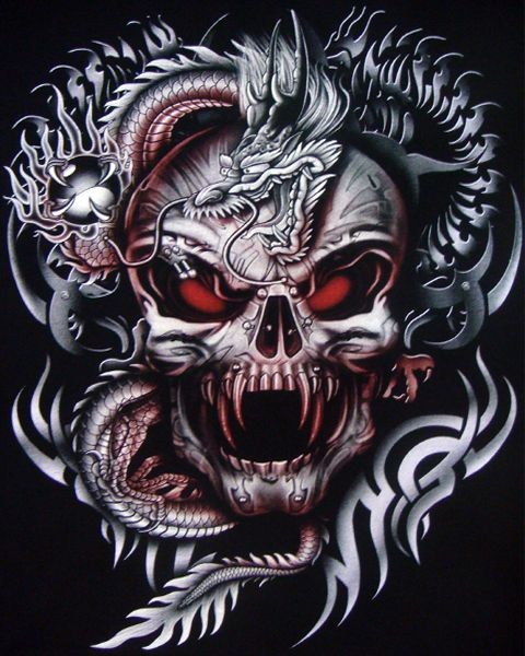 Dragon skull tattoo the vampire dragon tattoo skull for Vampire skull tattoo