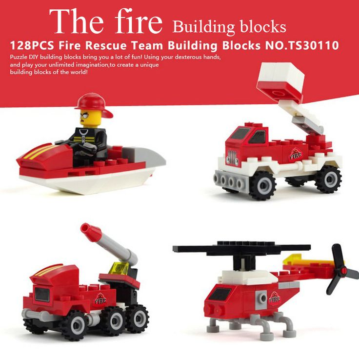 128 PCS Fire Rescue Team Building Blocks  Helicopters Assemble Toy Early Educational Brinquedos Trucks Toys