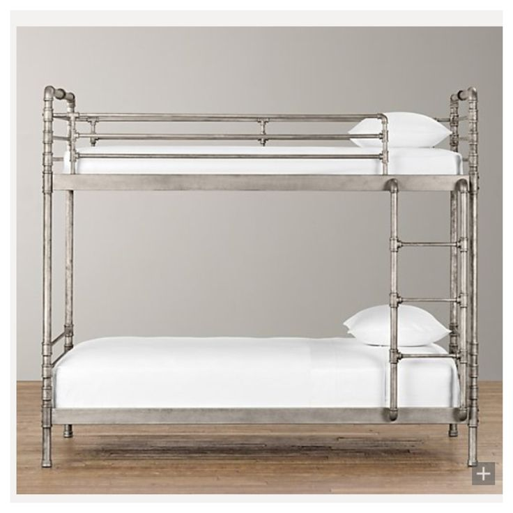 Make a bunk bed frame out of sturdy plumbing pipe sure for Bed frame hangers