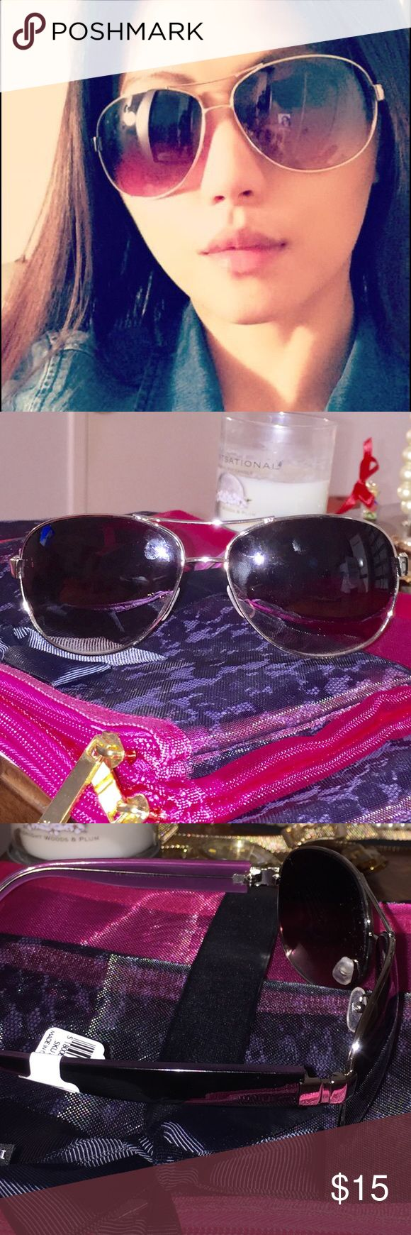 Anne Taylor Loft aviator sunglasses. Brand new. Silver & subtle purple. Arms look really purple in picture bc of flash but in actuality purple is dark & muted. Forgot I had them. Never used with tags still attached. Case included. Anne Taylor Accessories Sunglasses