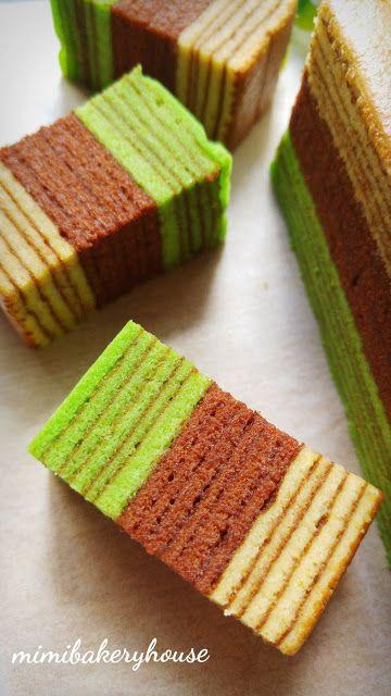 MiMi Bakery House: Kek Lapis Chocolate Pandan ( Tri-Color Kek Lapis) ...
