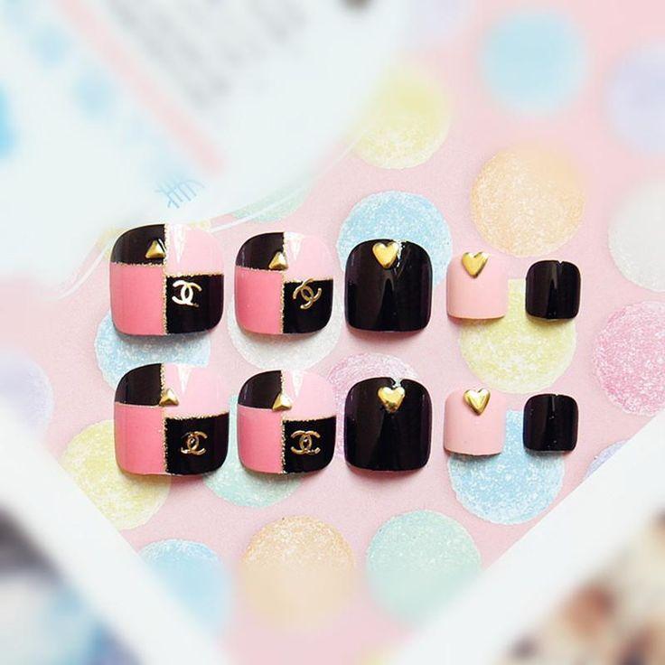 [Visit to Buy] 24Pcs Fake Toenails Pink Black Lattice Patterns False Toe Nails Rivet Nail Art Manicure Tools Full Nail Tips T019 #Advertisement