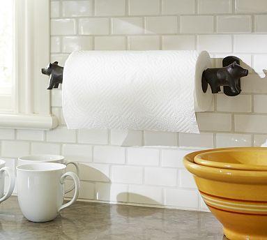 Vintage Blacksmith Wall-Mount Pig Paper Towel Holder #potterybarn (I think I like this)