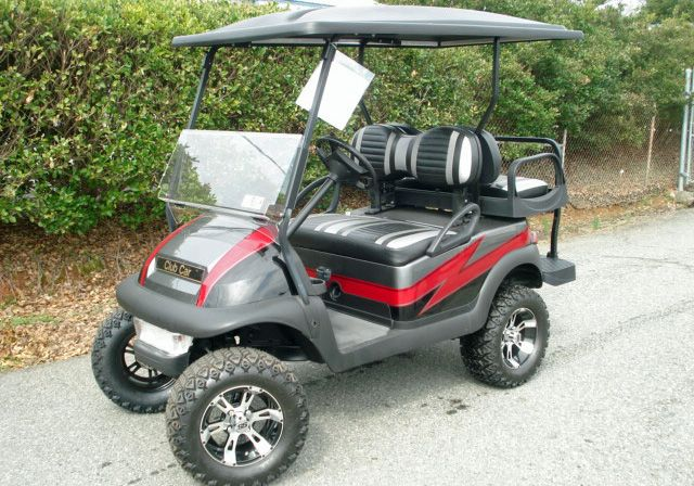 Custom paint, red and charcoal. Customized Golf Carts from Carolina Golf Cars