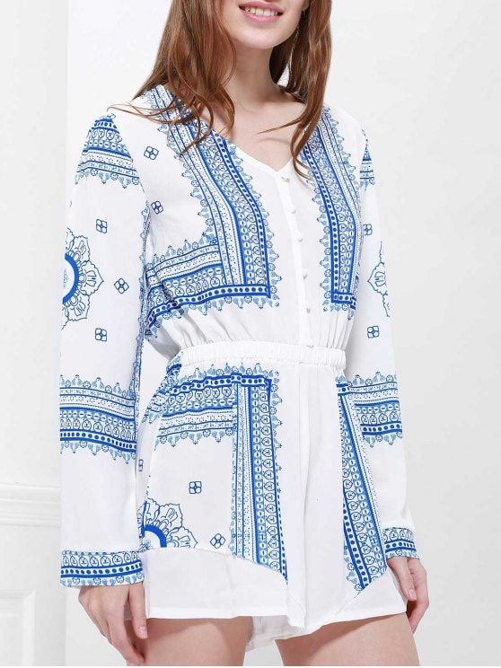 Buttoned Long Sleeve Printed Playsuit - BLUE AND WHITE M
