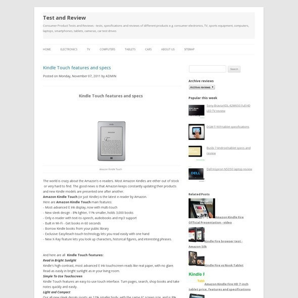 Stunning Amazon Kindle Touch eBook reader price features specifications full test and video