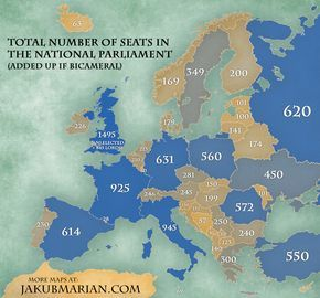 Number of seats in the national parliaments across Europe. Pinned by #Europass
