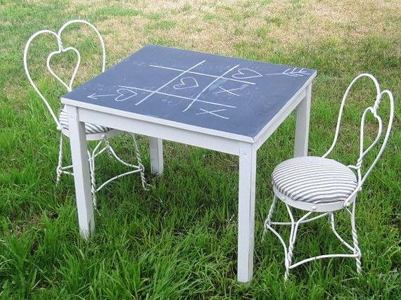 I want to do this child size on etsy at TheVintageBarn...OMG!!!! My stuff is being pinned by total strangers!!!!!! Woohoo!: Good Ideas, Kids Tables, Chalkboards Tables, Kids Chalkboards, Shabby Chic, Crafts Tables, Boards Paintings, Chalk Boards Tables, Chalkboard Table
