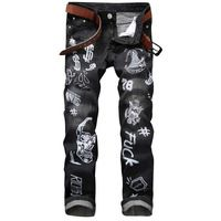 Moda Para Hombre Del Cráneo Impreso Pantalones Vaqueros de Diseñador de la Marca de Los Hombres de Hip Hop Streetwear Pintura Apenada Ripped Denim Jeans Pantalones Masculinos