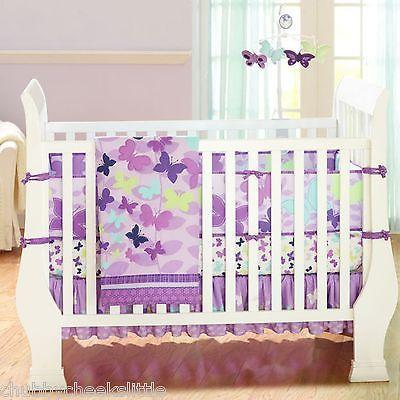 Butterly Purple 4pcs baby girl Crib Bedding Set Quilt Bumper Sheet Dust Ruffle | eBay!